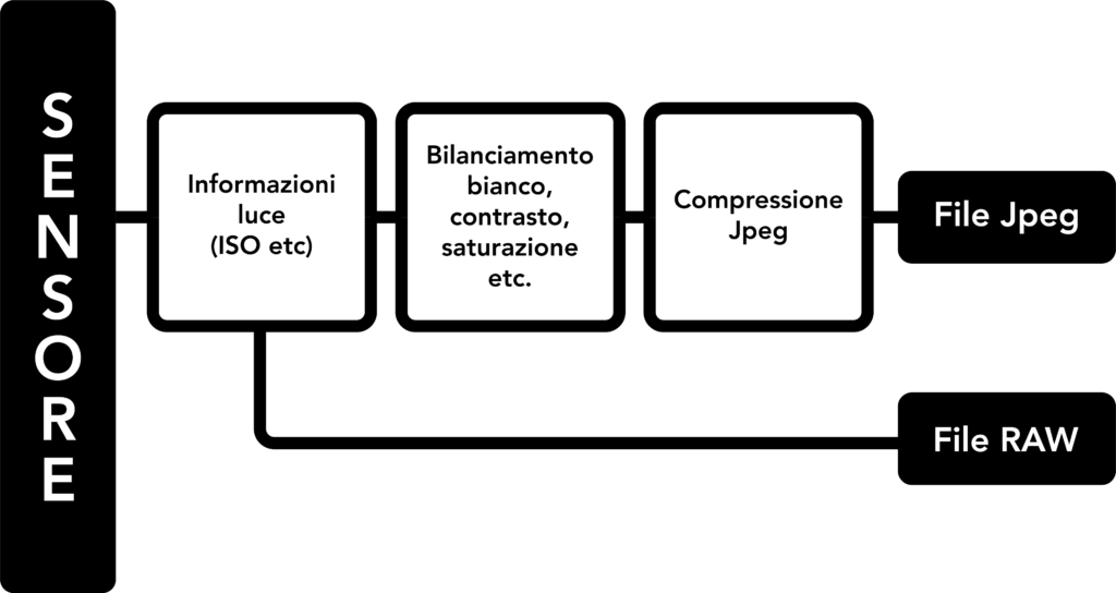 Schema che rappresenta il processo per la creazione di una foto JPG